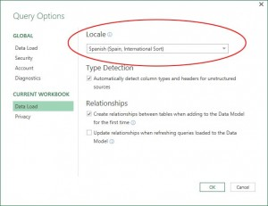 Locale settings Excel 2016