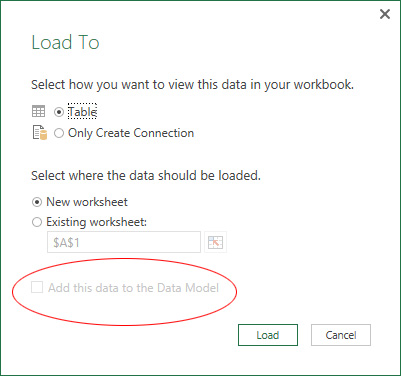 Add data to Data Model option is greyed out
