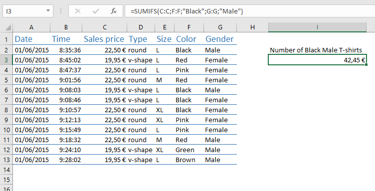 Wim Jellema Excel SUMIFS example
